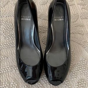 Stuart Weitzman Black Peep Toe Pumps